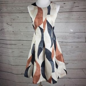 H&M Abstract Fit Flare Sleevless Dress Size 14
